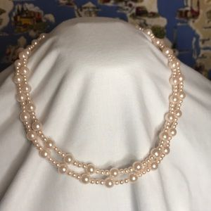 Double strand pink faux pearl necklace